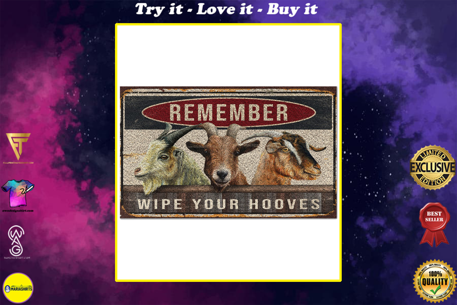 goats remember wipe your hooves full printing doormat