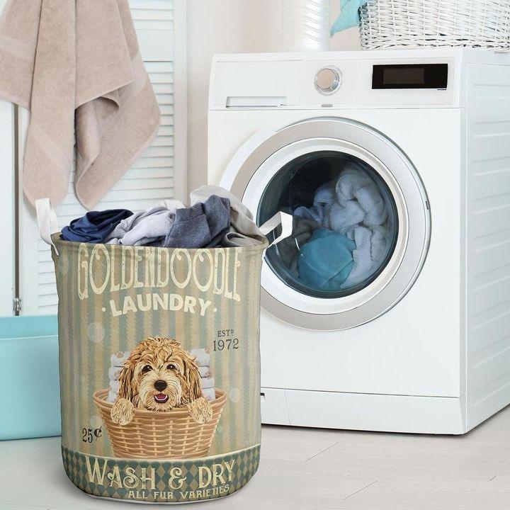 golden doodle dog all over printed laundry basket 2