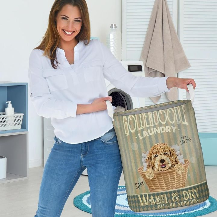 golden doodle dog all over printed laundry basket 3
