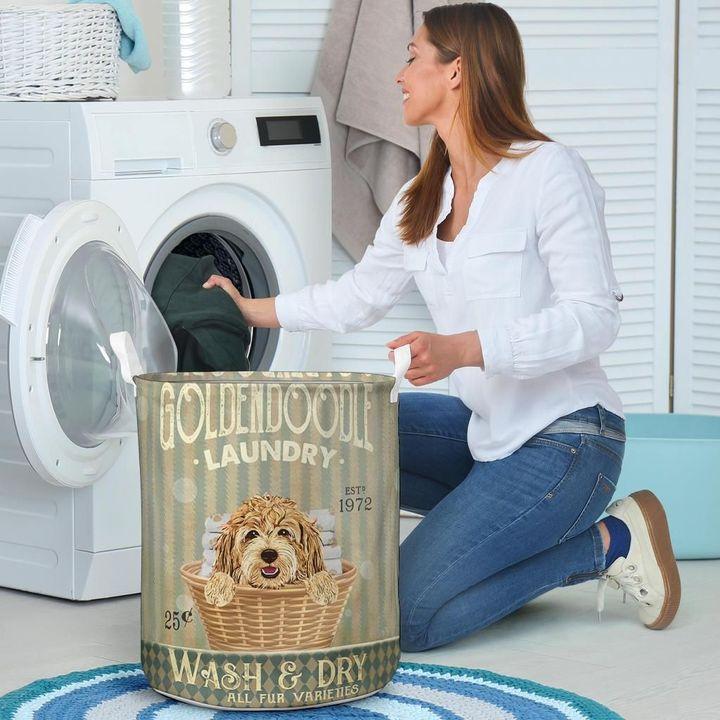 golden doodle dog all over printed laundry basket 4