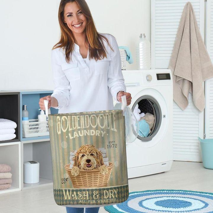 golden doodle dog all over printed laundry basket 5