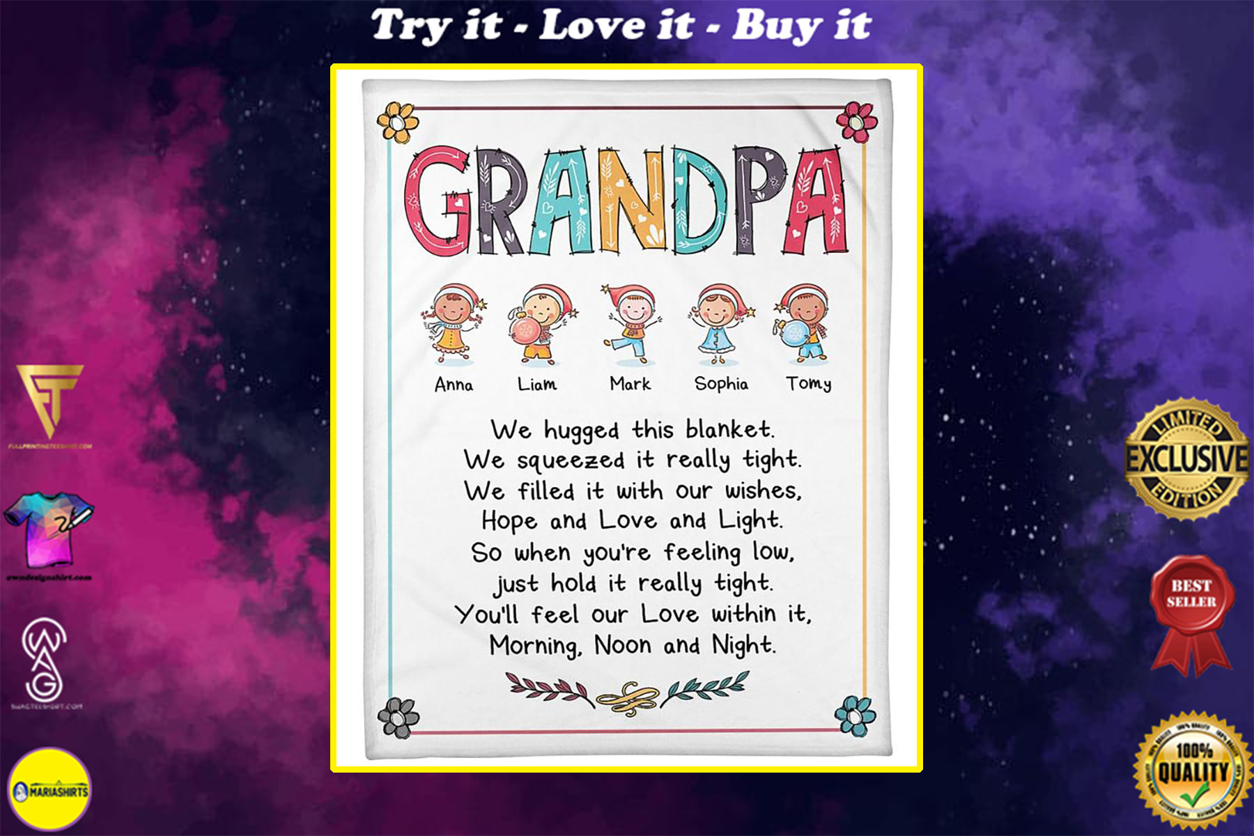 grandpa we hugged this blanket hope and love and light blanket