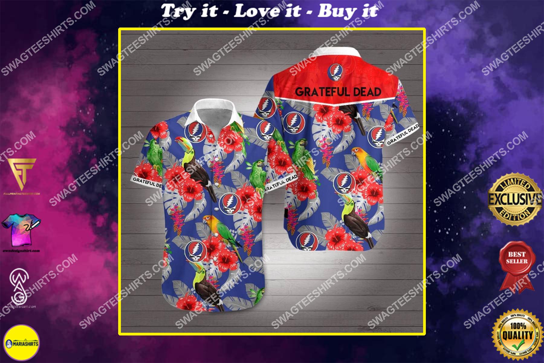 grateful dead band all over print hawaiian shirt