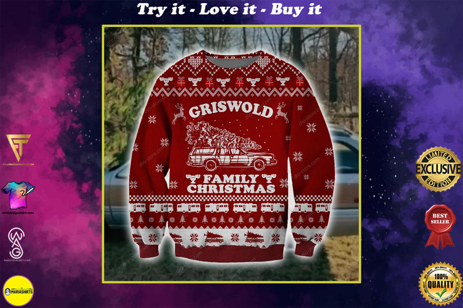 griswold family christmas all over printed ugly christmas sweater