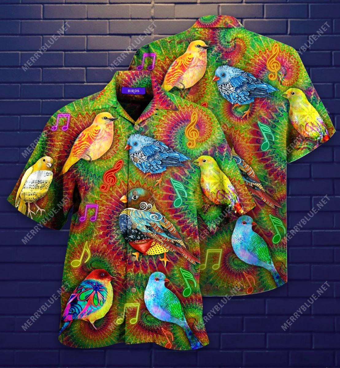 groovy birdy colorful all over printed hawaiian shirt 2