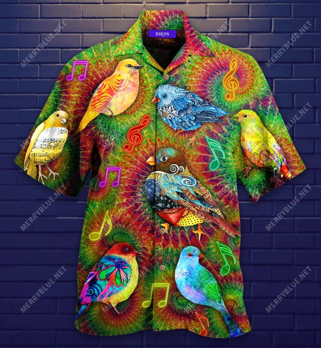 groovy birdy colorful all over printed hawaiian shirt 4