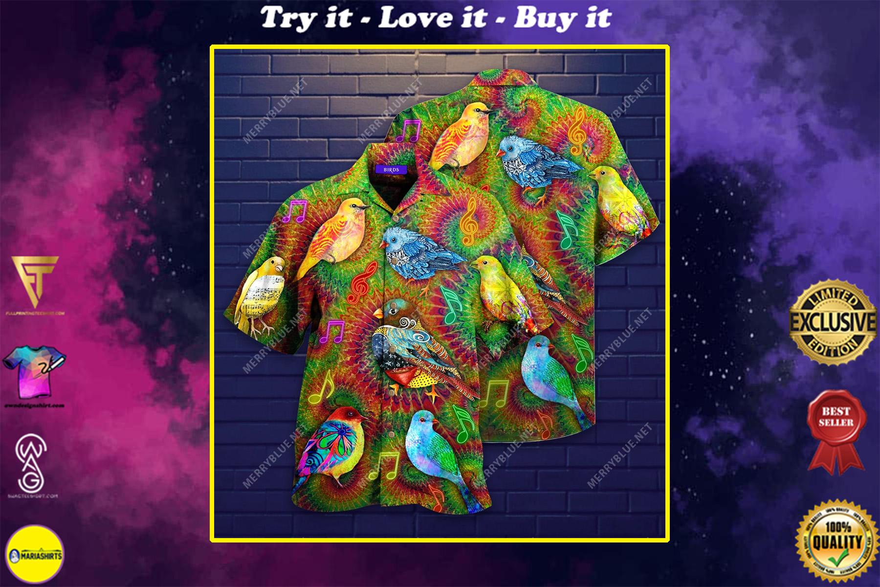 groovy birdy colorful all over printed hawaiian shirt
