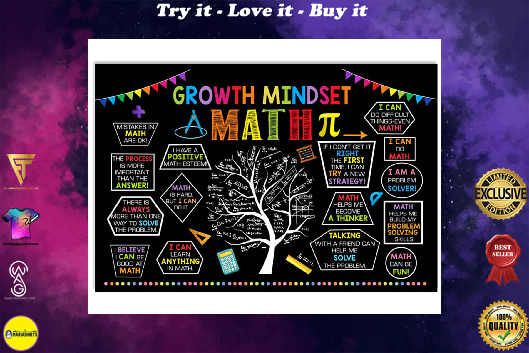 growth mindset tree math poster