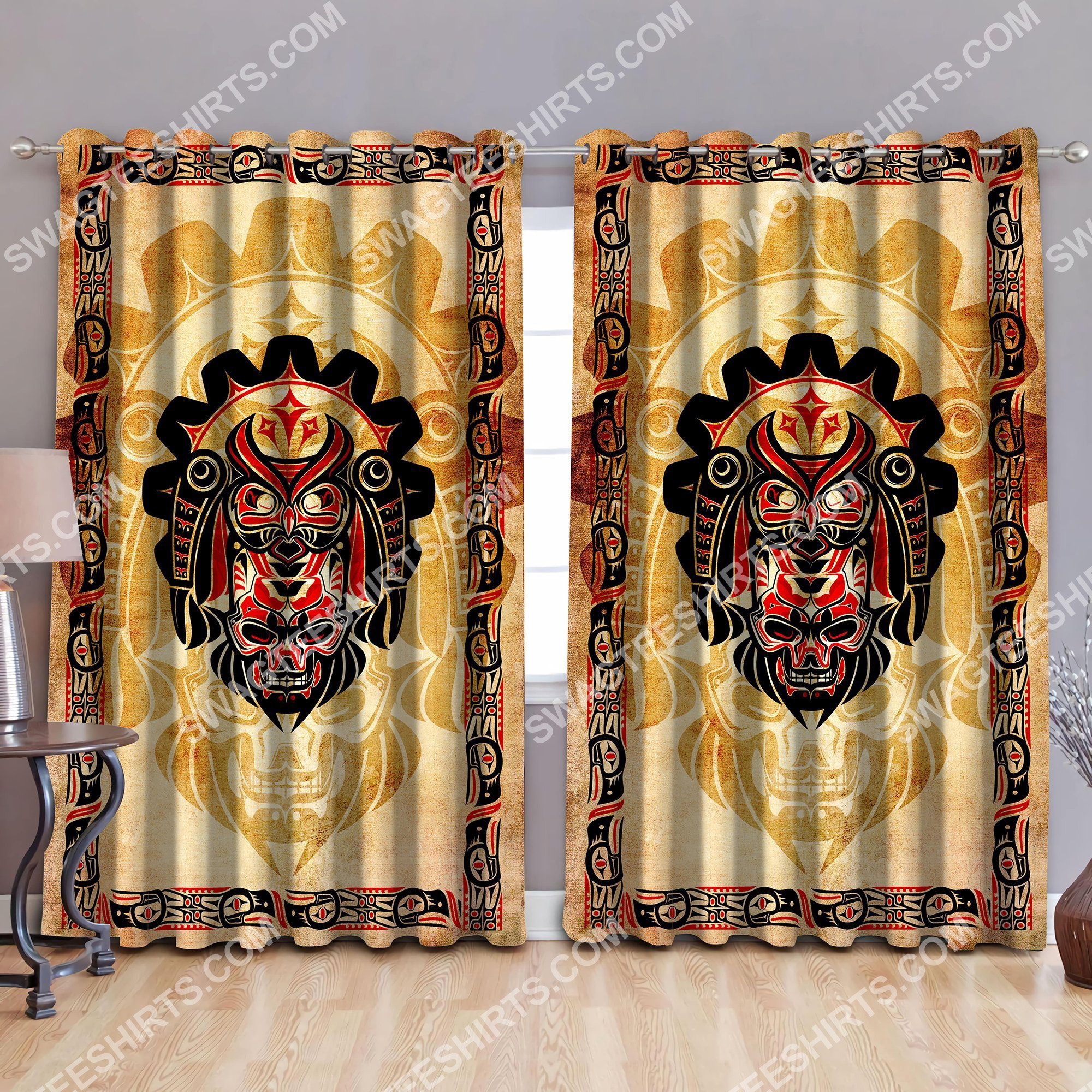 haida indians all over printed window curtains 3 - Copy (2)