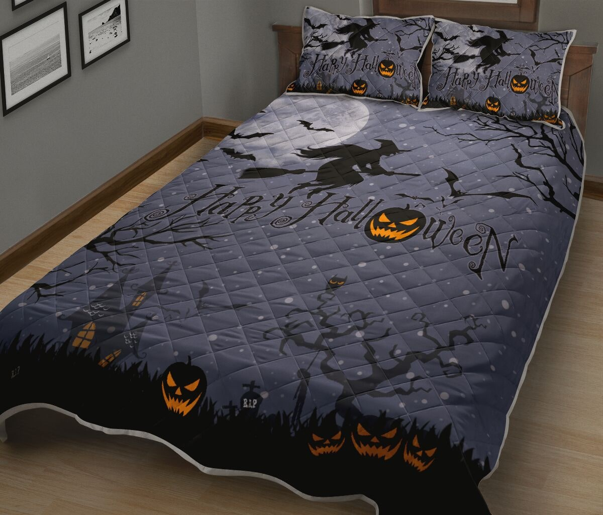 happy halloween witch and pumpkin full printing bedding set 3