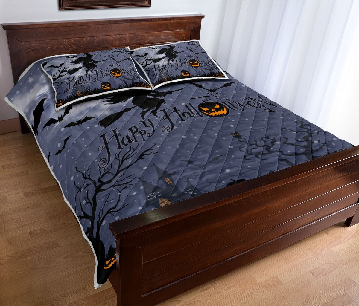 happy halloween witch and pumpkin full printing bedding set 4