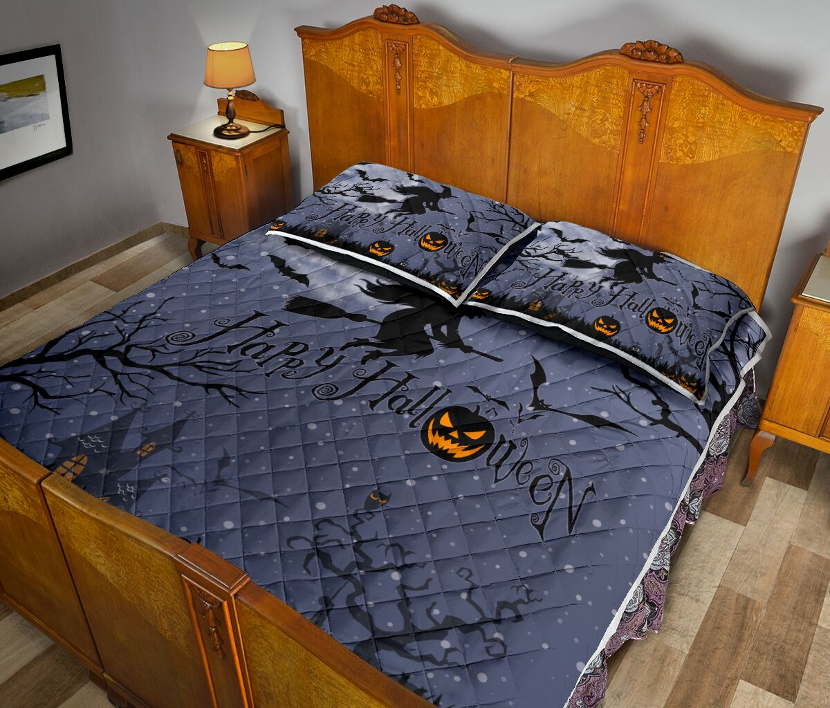 happy halloween witch and pumpkin full printing bedding set 5