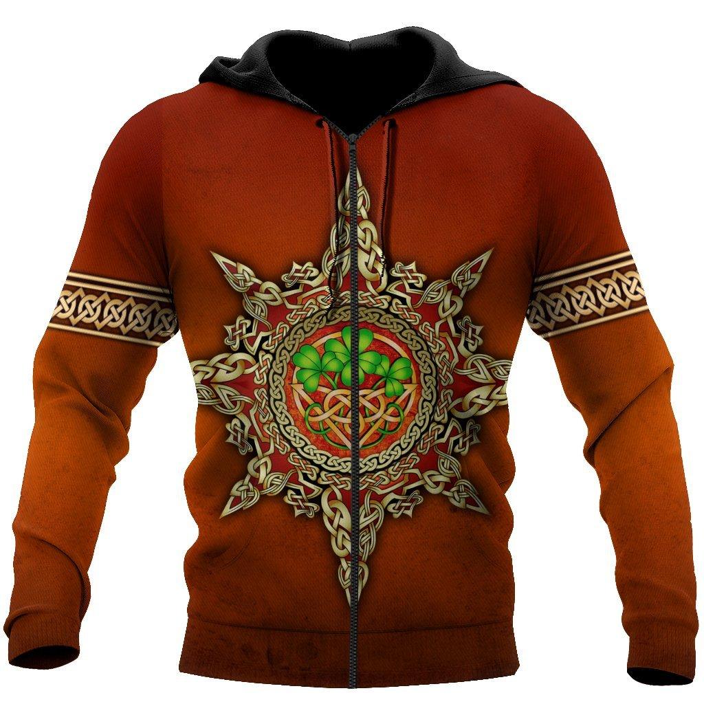 happy saint patricks day vintage all over printed zip hoodie
