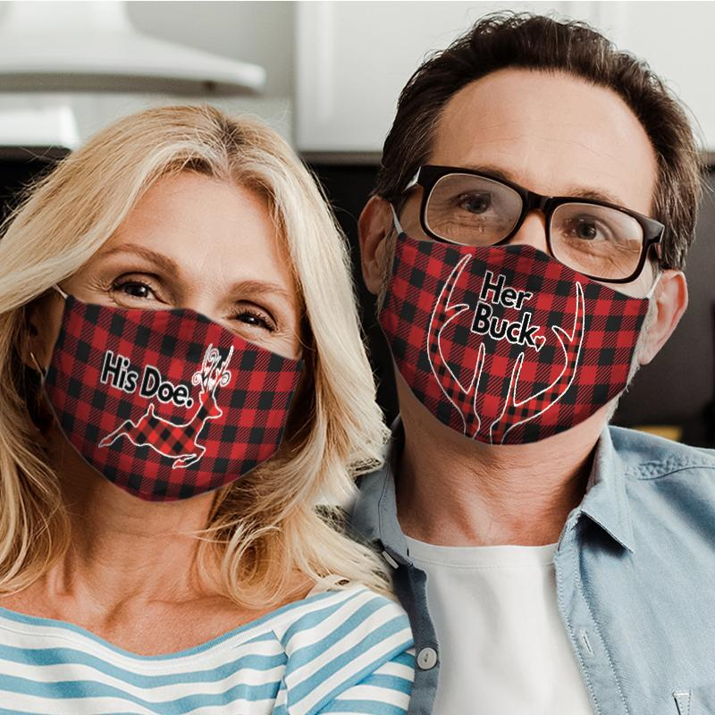 happy valentines day her buck all over print face mask 5