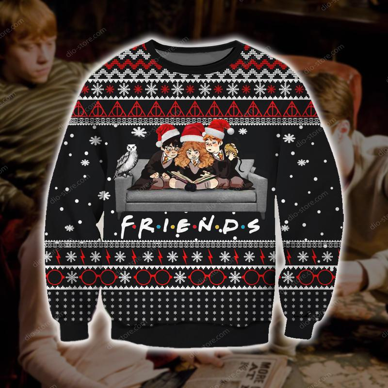 harry potter friends tv show all over printed ugly christmas sweater 2