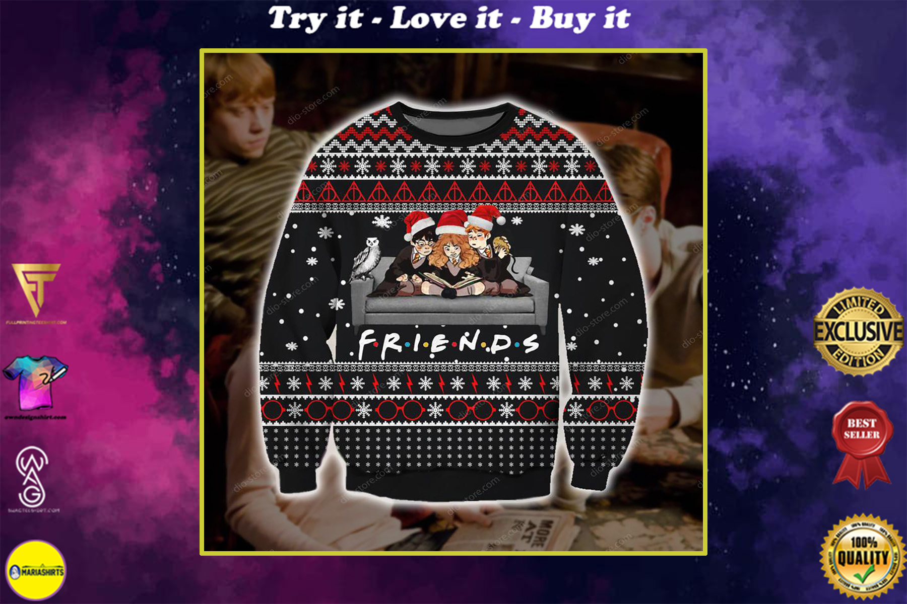 harry potter friends tv show all over printed ugly christmas sweater