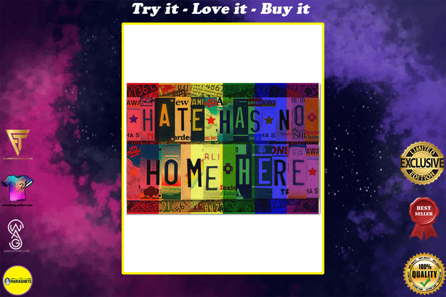 hate has no home here lgbt all over print doormat