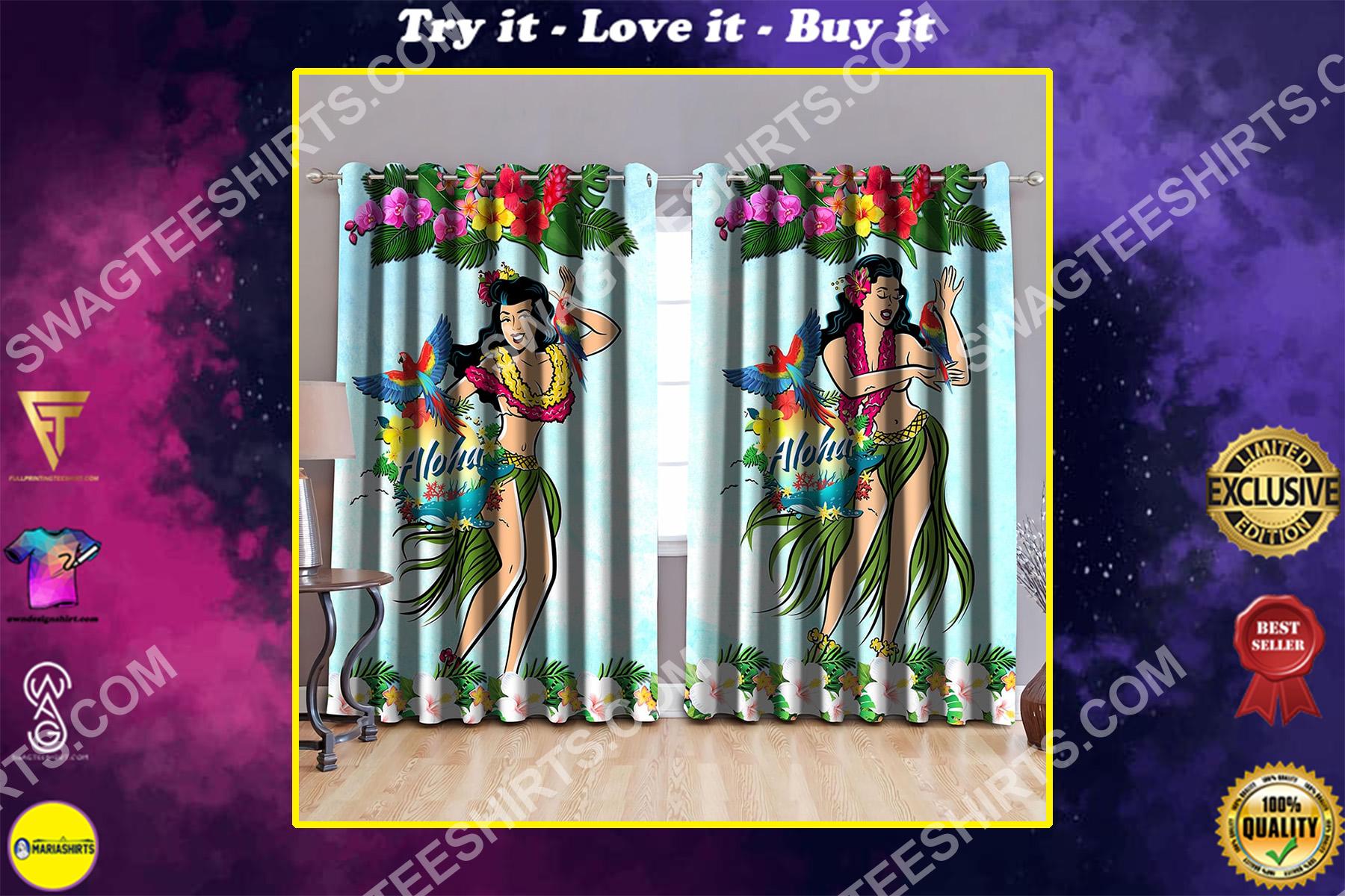 hawaii aloha dance all over printed window curtains
