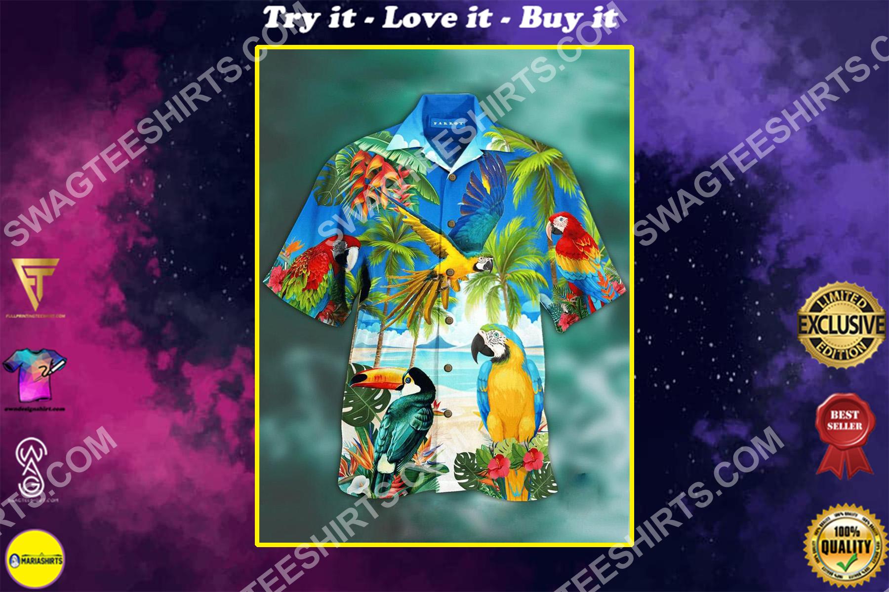 hawaii beach and parrot all over printed hawaiian shirt