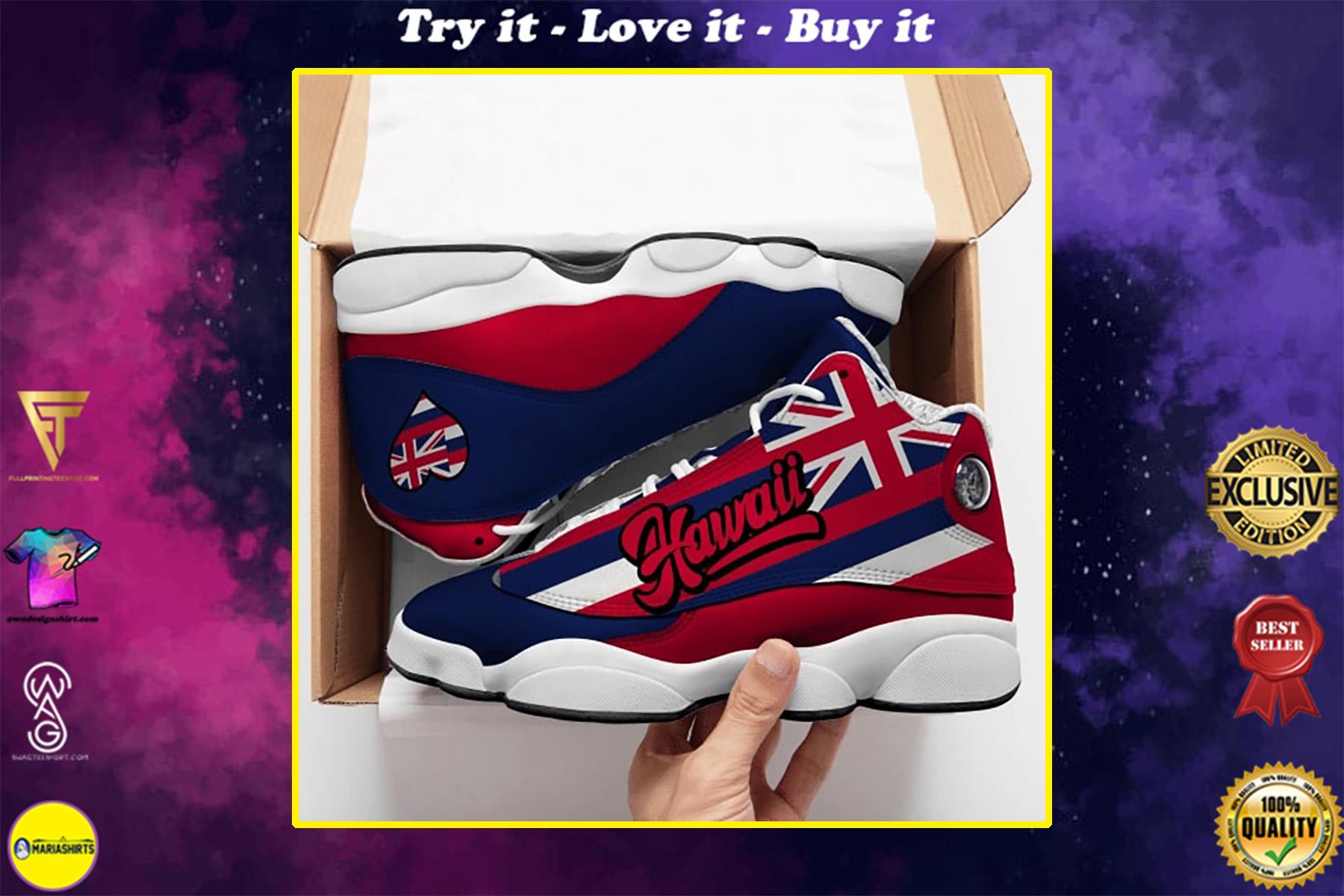 hawaii flag all over printed air jordan 13 sneakers