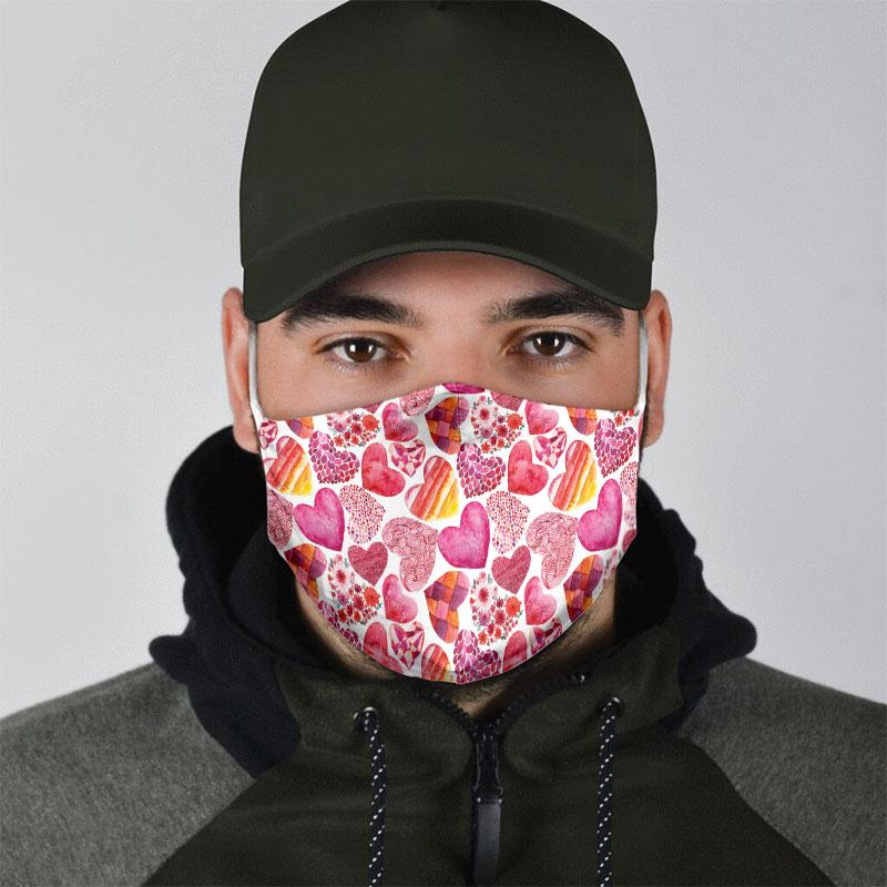 heart pattern all over print face mask 4