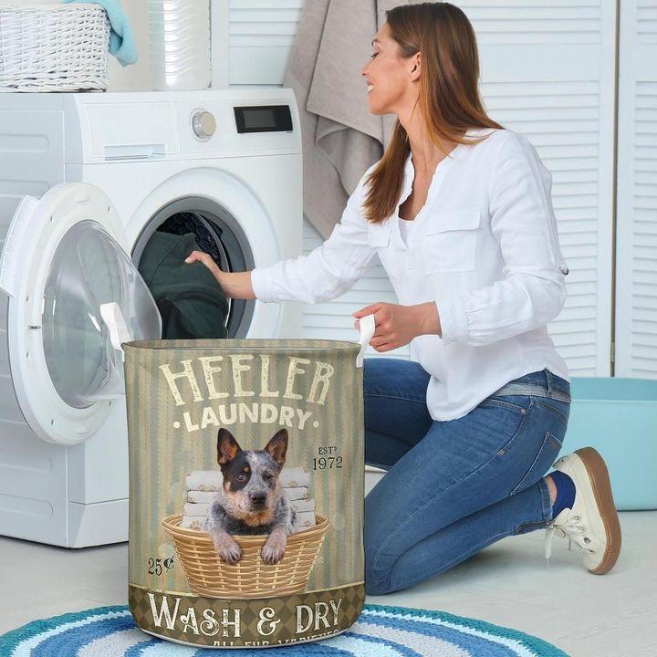 heeler dog all over printed laundry basket 5