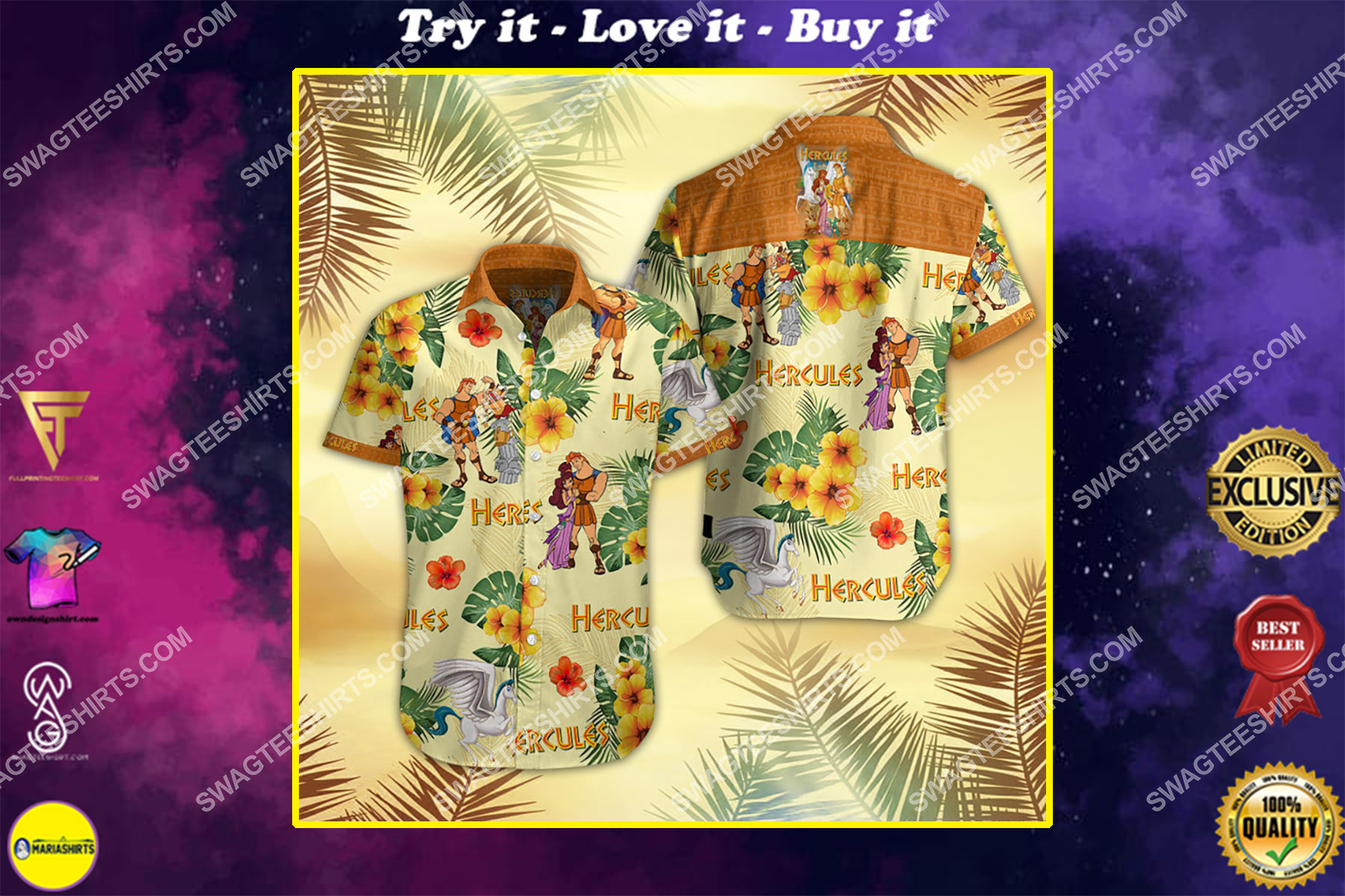 hercules movie all over print hawaiian shirt