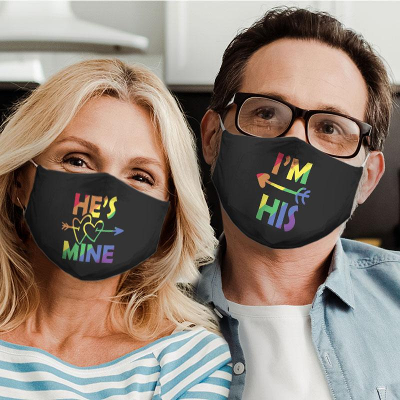 hes mine for couple lgbt all over print face mask 4