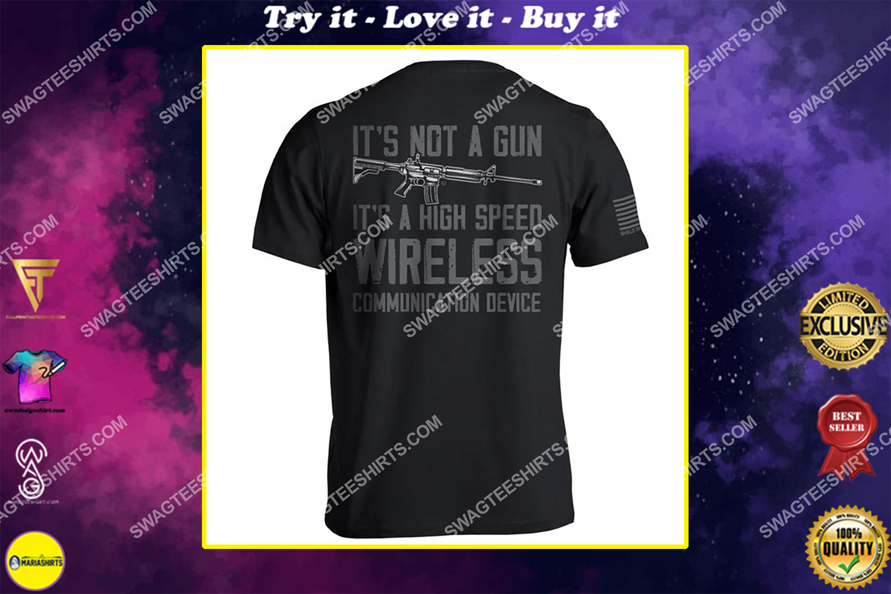 high speed wireless communication device gun control political shirt