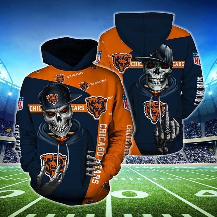 hip hop skull chicago bears football team full over printed shirt 2