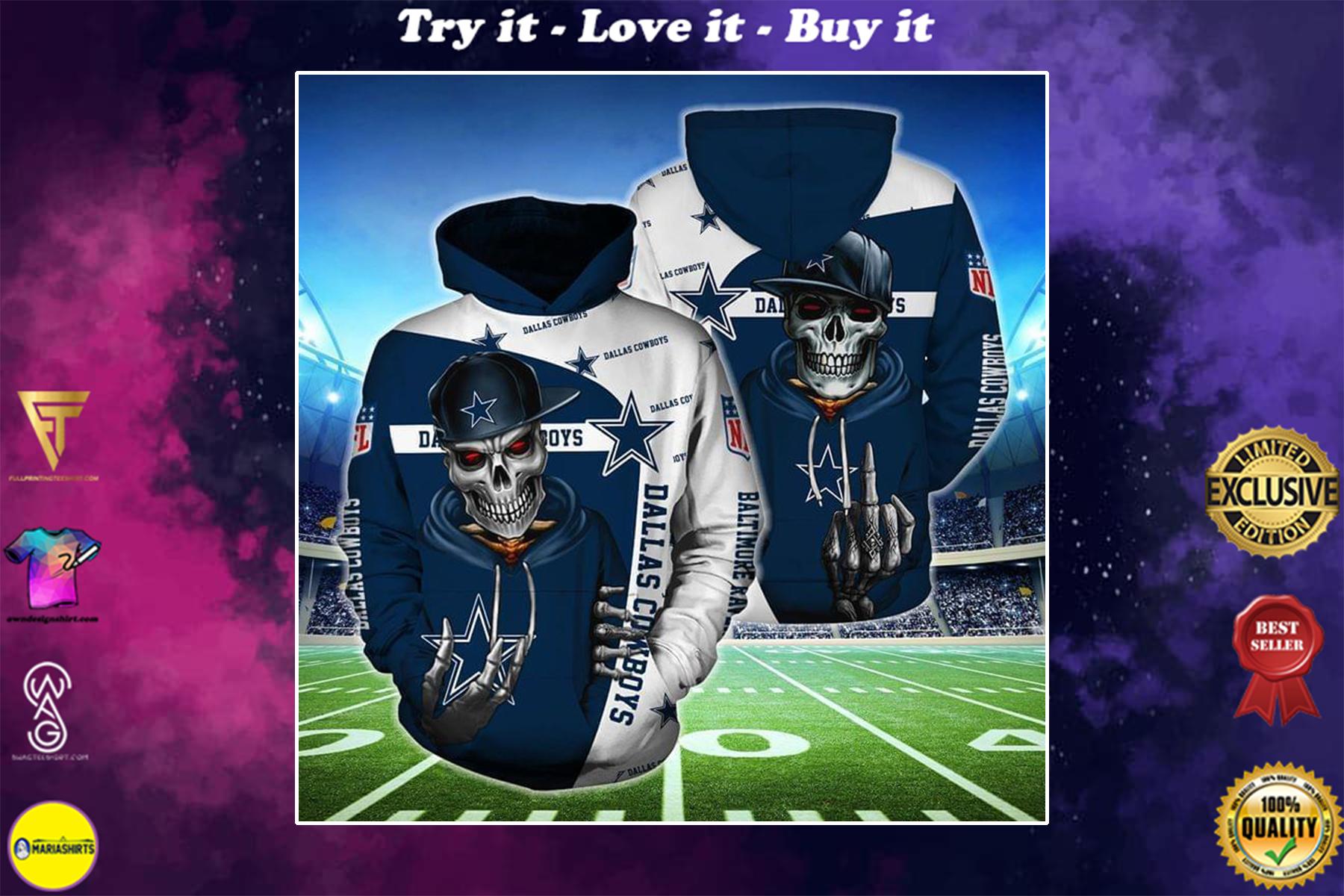 hip hop skull dallas cowboys football team full over printed shirt