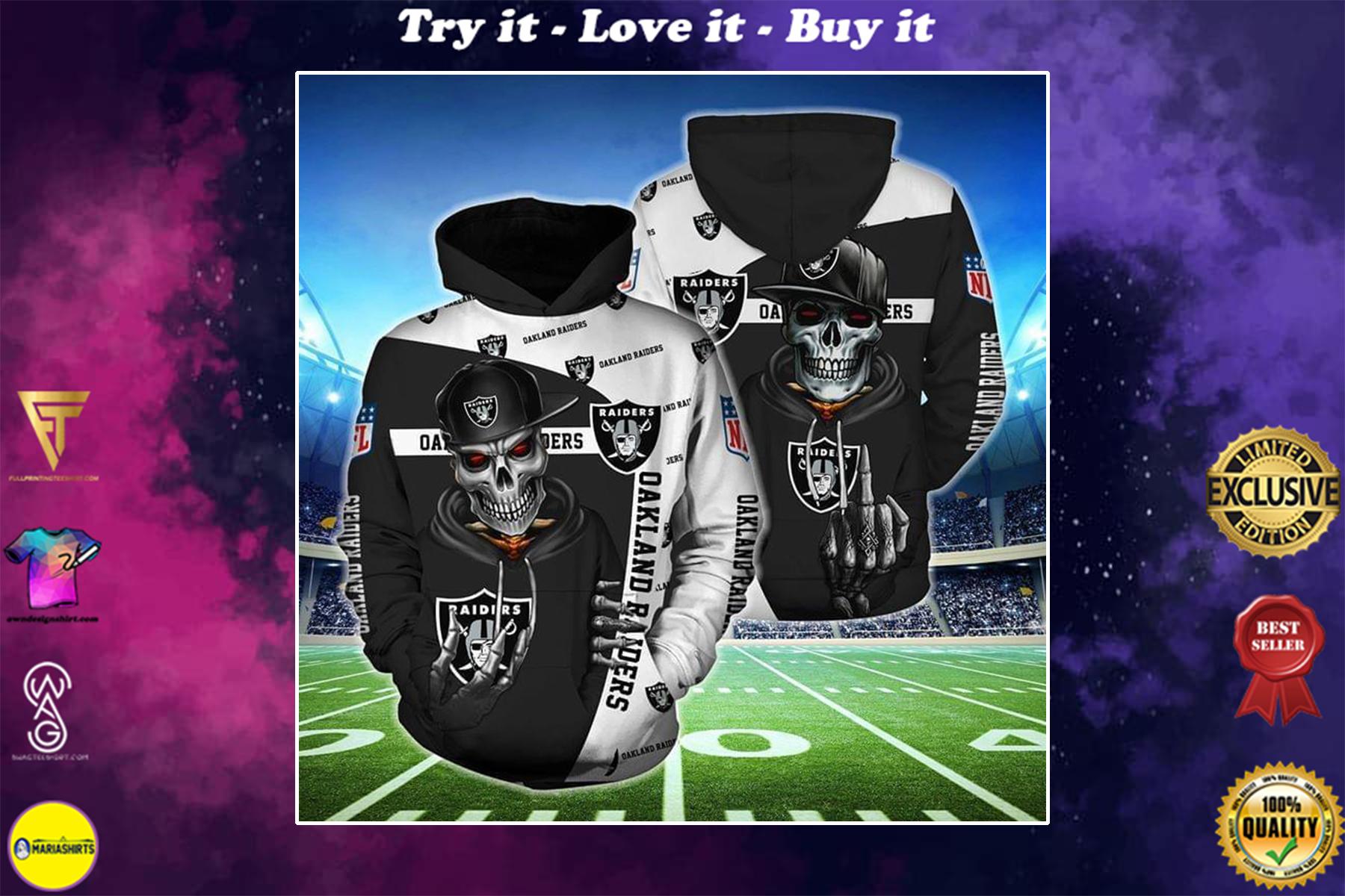 hip hop skull oakland raiders football team full over printed shirt