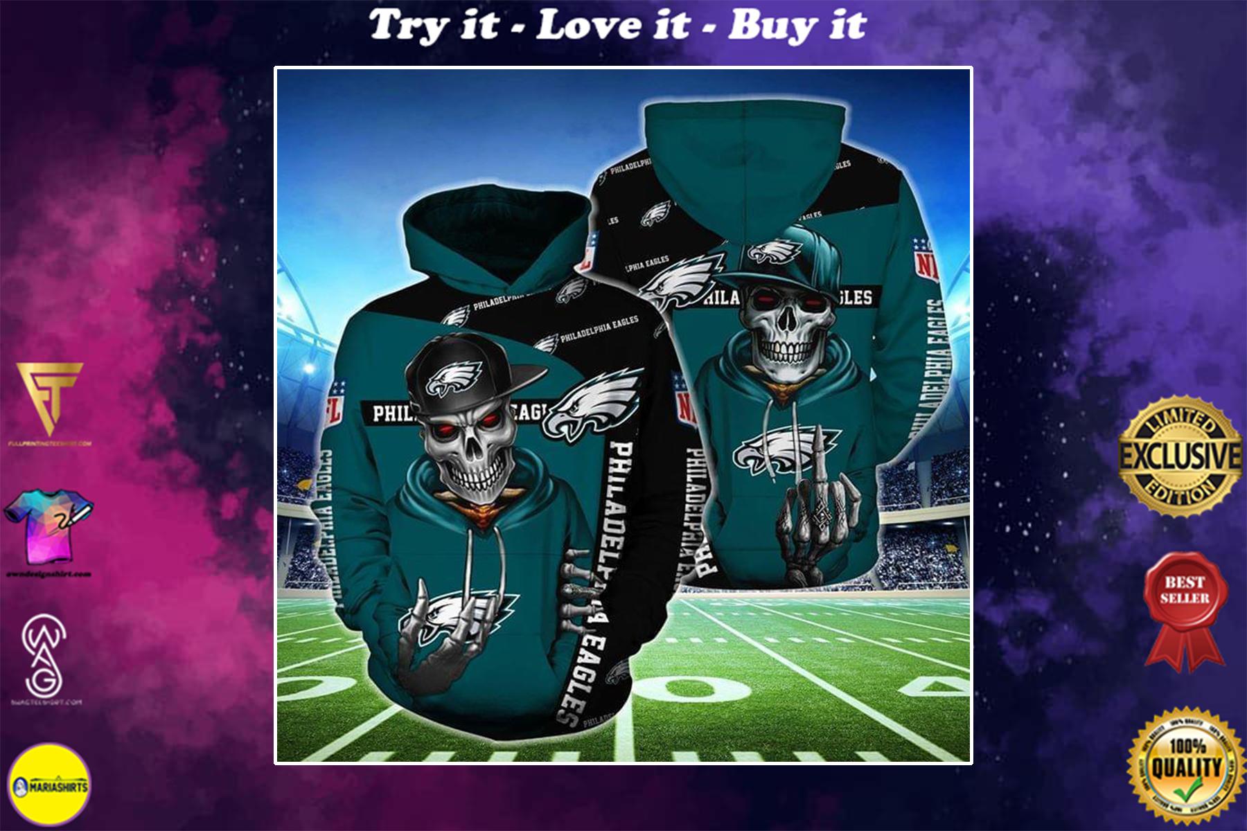 hip hop skull philadelphia eagles football team full over printed shirt