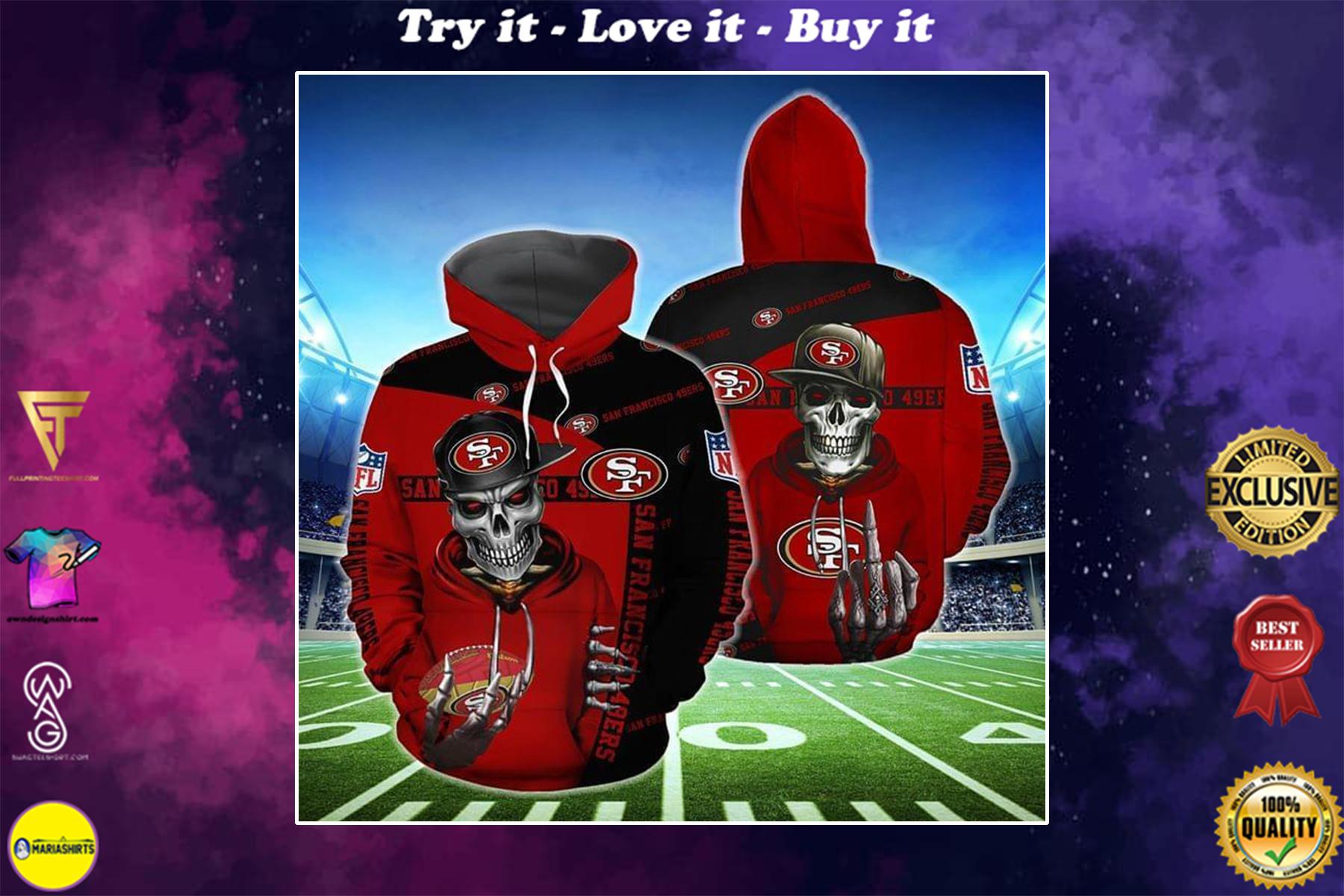 hip hop skull san francisco 49ers football team full over printed shirt