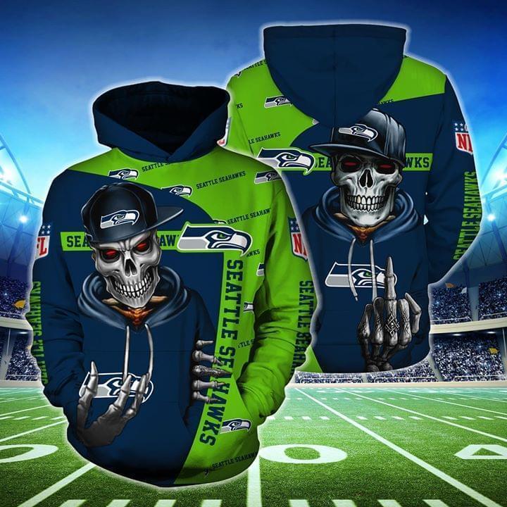 hip hop skull seattle seahawks football team full over printed hoodie