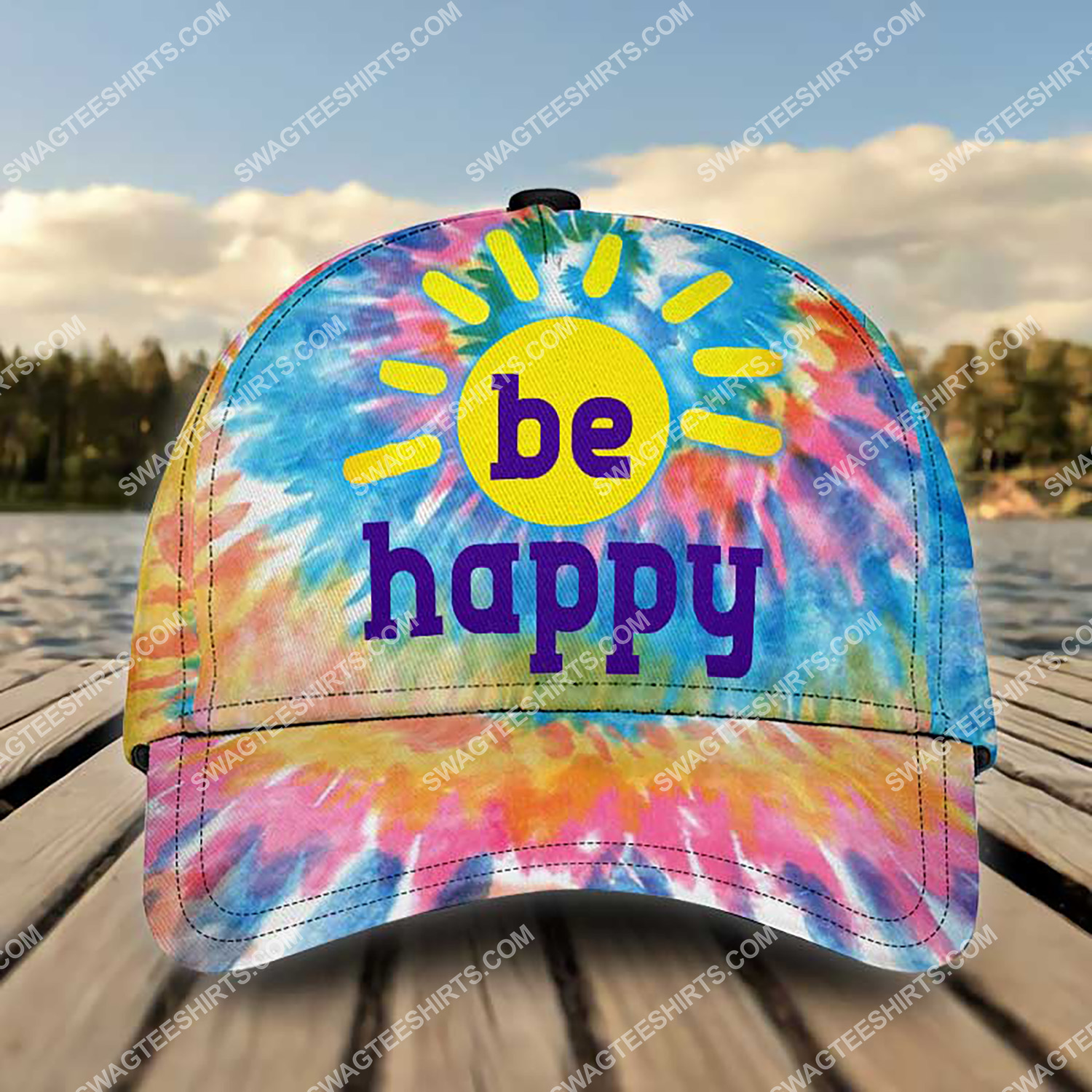 hippie be happy colorful all over printed classic cap 3 - Copy (2)