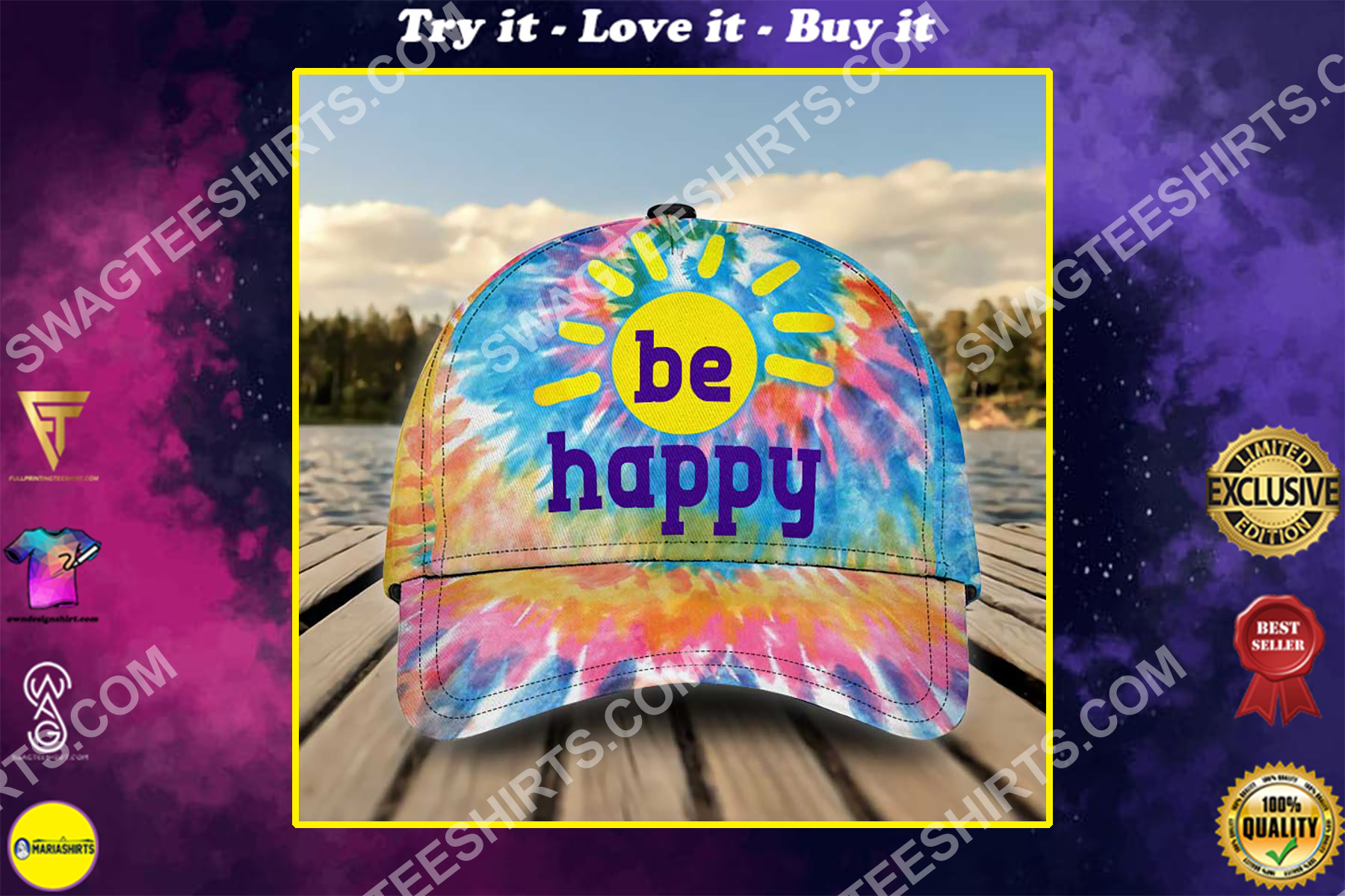 hippie be happy colorful all over printed classic cap
