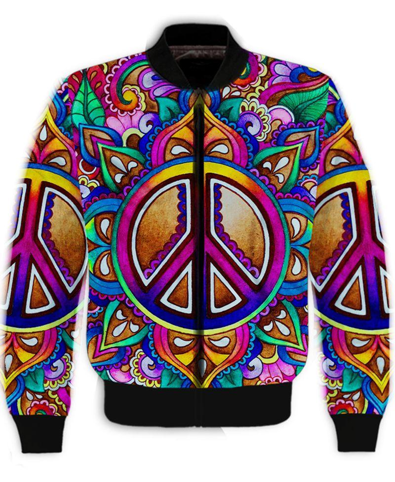 hippie colorful peace sign all over printed bomber