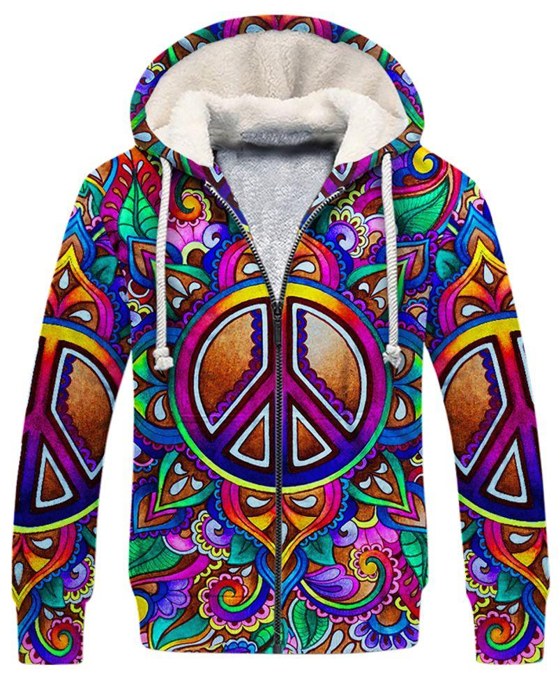 hippie colorful peace sign all over printed fleece hoodie