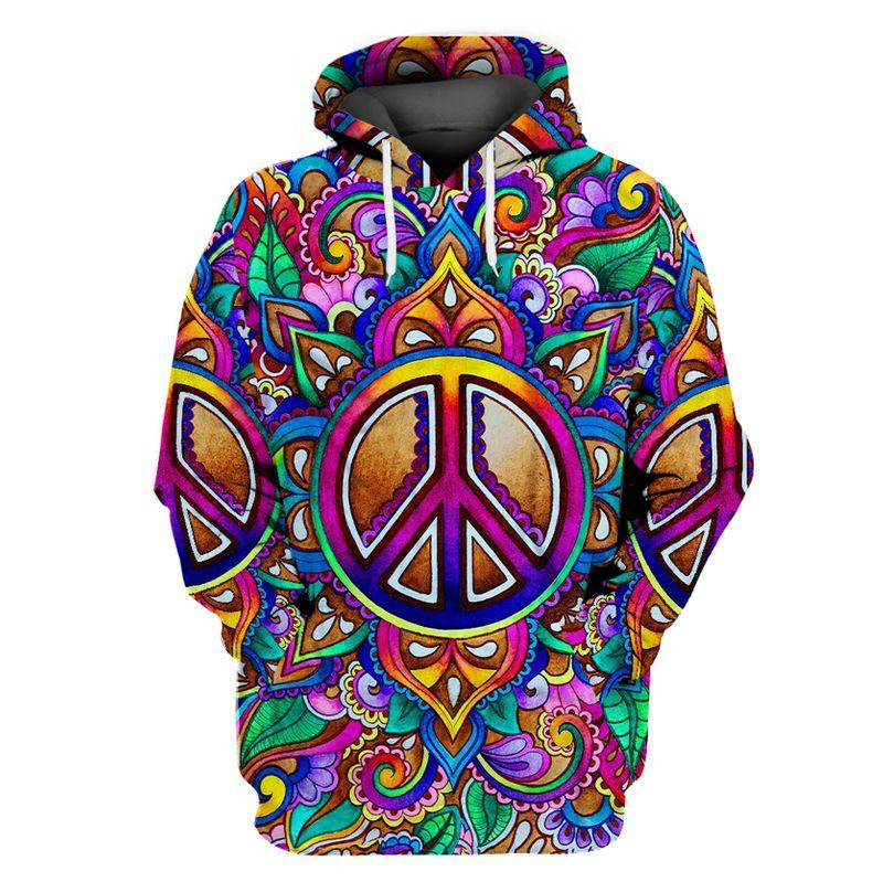 hippie colorful peace sign all over printed hoodie