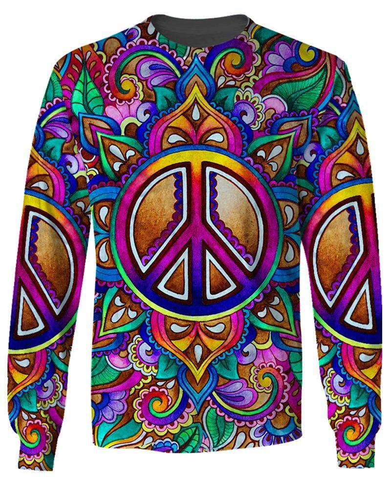 hippie colorful peace sign all over printed sweatshirt