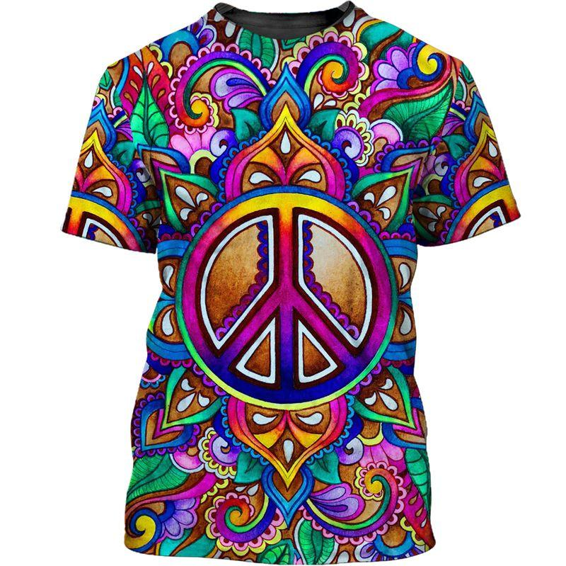 hippie colorful peace sign all over printed tshirt