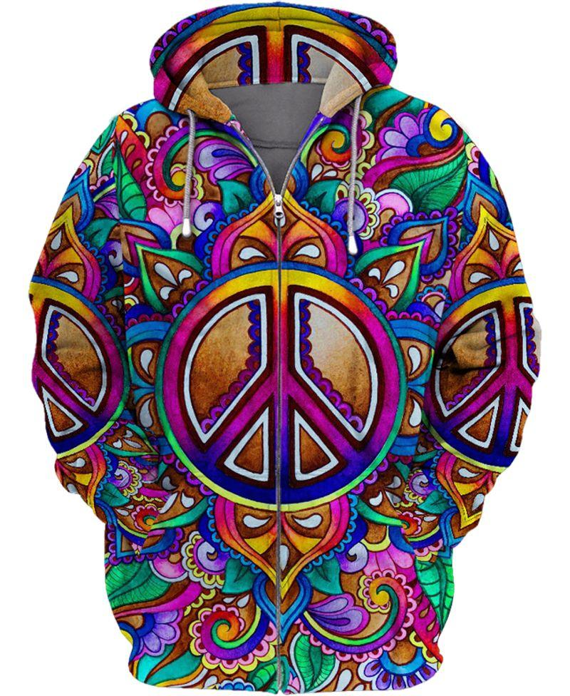 hippie colorful peace sign all over printed zip hoodie