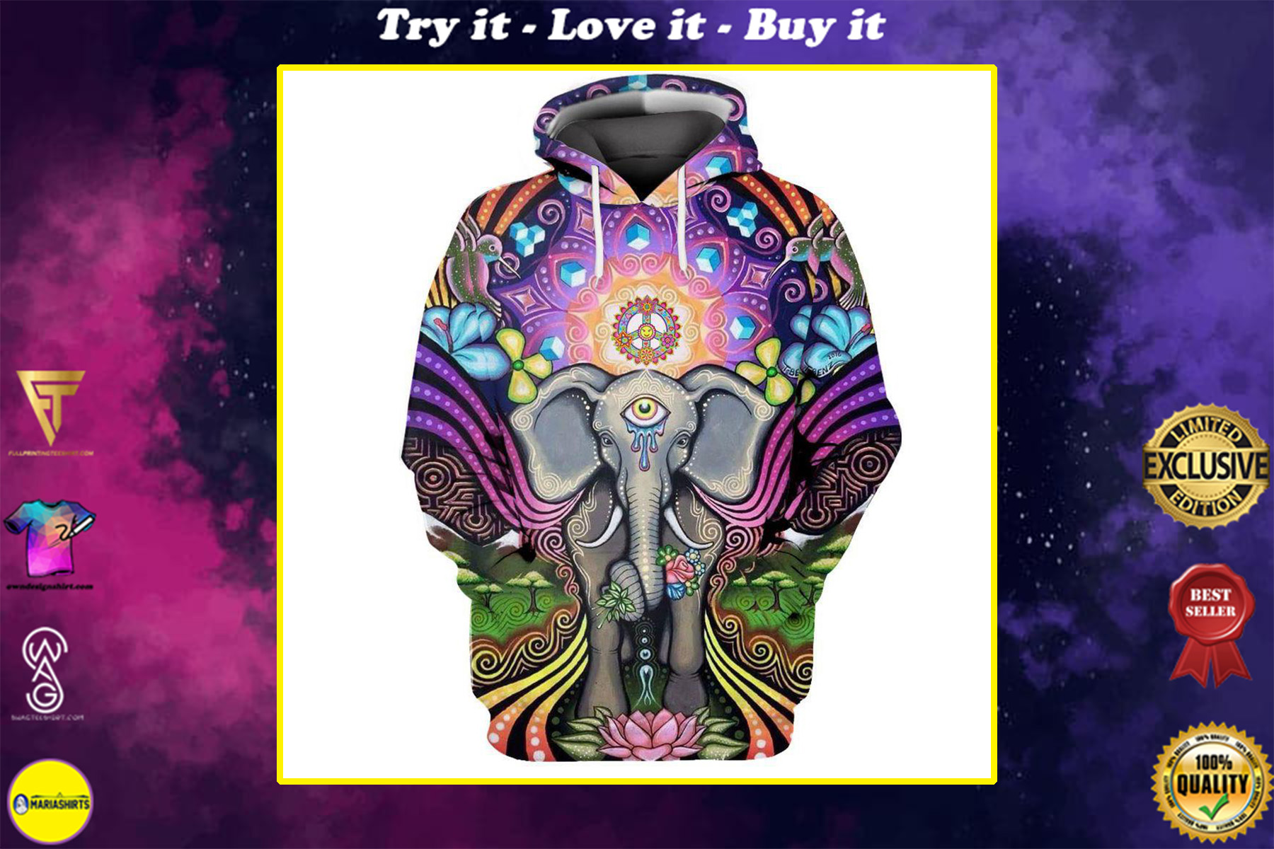hippie elephant with mandala all over printed shirt