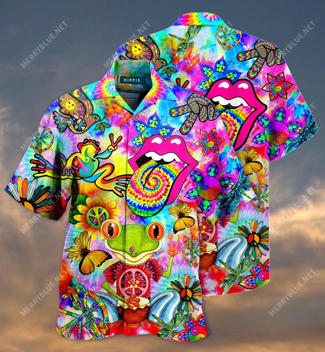 hippie feeling groovy colorful all over printed hawaiian shirt 3