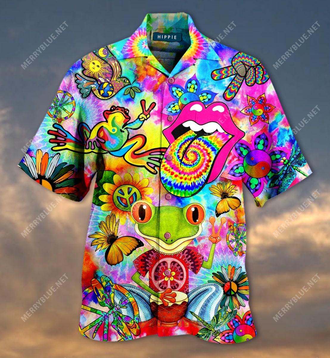 hippie feeling groovy colorful all over printed hawaiian shirt 4