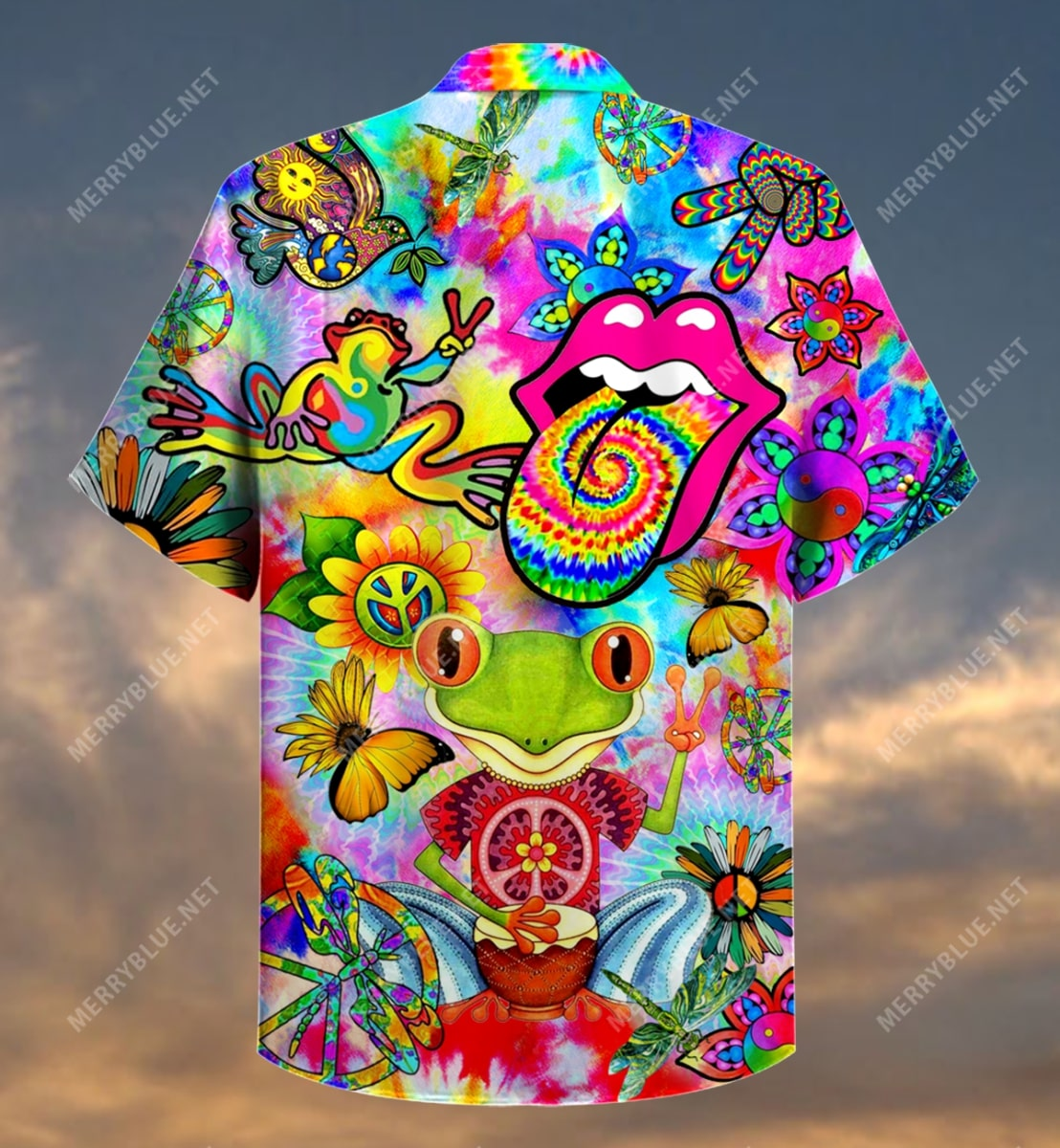 hippie feeling groovy colorful all over printed hawaiian shirt 5