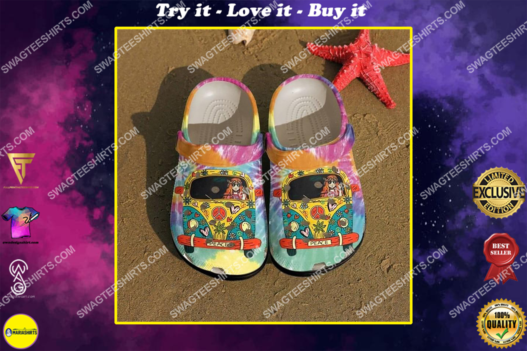 hippie girl and car all over printed crocs crocband clog