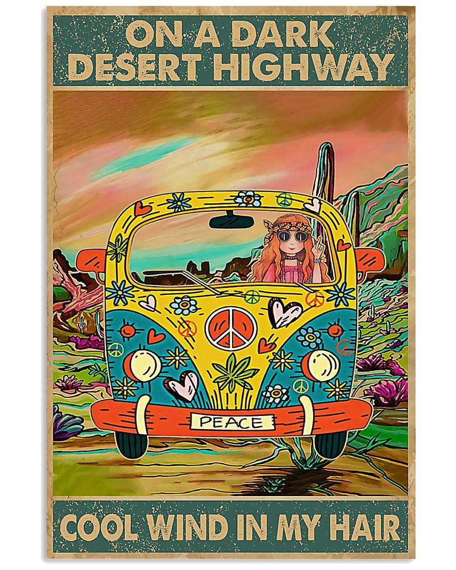 hippie girl on a dark desert highway cool wind in my hair vintage poster 1