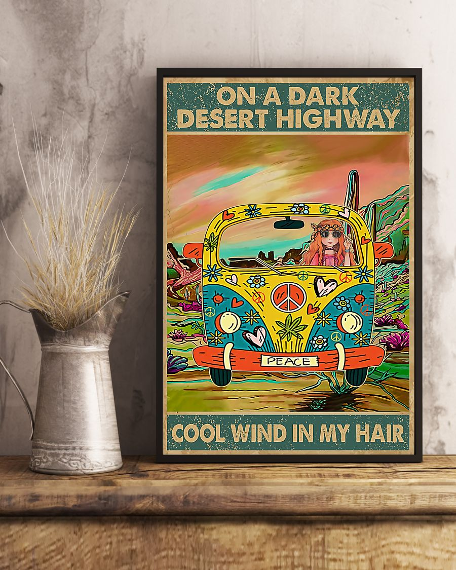 hippie girl on a dark desert highway cool wind in my hair vintage poster 3